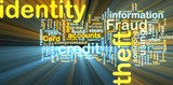Identity theft wordcloud glowing poster