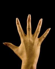 Alle 5 Finger der goldenen Hand