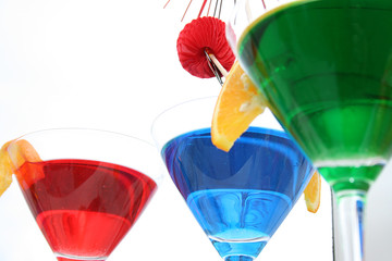 Martini glasses with multicolor cocktails