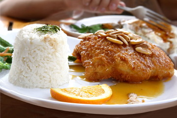 Japanese cousine - almond fish with  rice