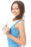 Photo of woman in sportswear with towel, isolated on white poster