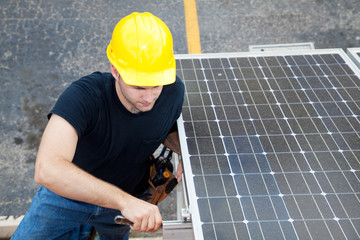 Solar Energy - Electrician Working