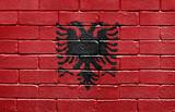Flag of Albania on brick wall poster