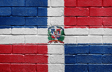 Flag of Dominican Republic on a brick wall