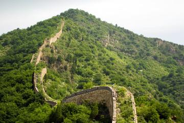 vista panoramica della grande muraglia immersa nella natura