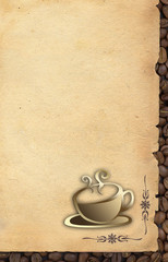 Cup of coffee on old paper background