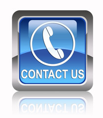 """Contact us!"" Square glossy icon"