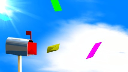 colourful letters flying into postbox