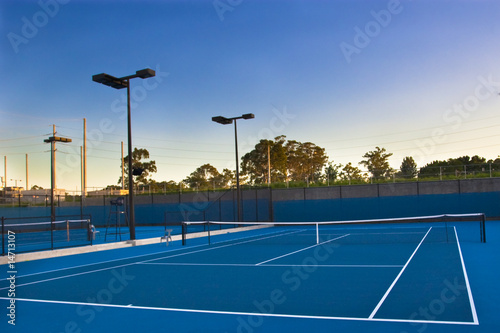 Tennis courts at sunset