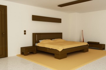 Render of a bedroom with brown and orange tones