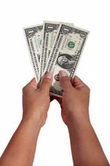 dollar notes against white background