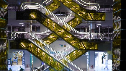escalators and elevators, time lapse, changing colors