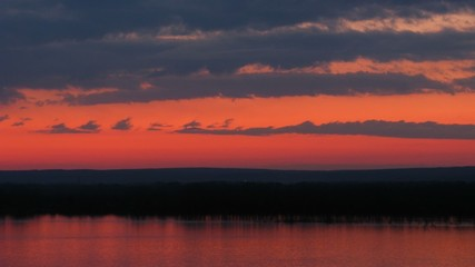 Sundown on Volga river. Time lapse