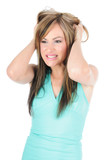 Woman under stress pulling her hair poster