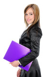 Businesswoman with paperwork poster