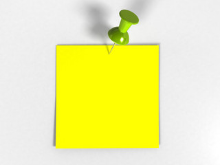 Note with Tack (3D rendering)