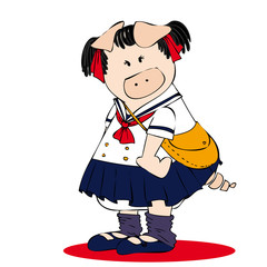Japanese high school student pig