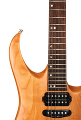 Toned maple electric guitar closeup