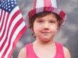 Pretty little girl wearing 4th of july hat