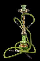 green Hookah on a black background