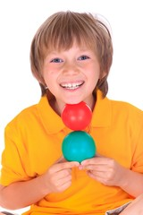 Boy with colorful balls