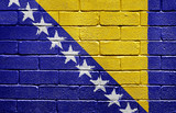 Flag of Bosnia and Herzegovina on brick wall poster
