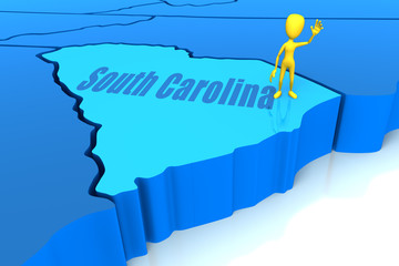 South Carolina state outline with yellow stick figure