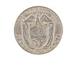 Panamanian coin isolated on whitebackground, clipping path.