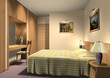 3D render of hotel room