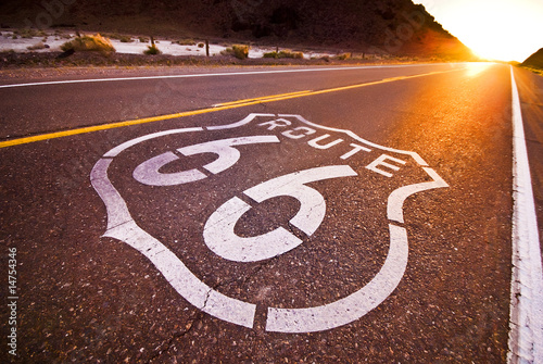 Poster Route 66 sunset