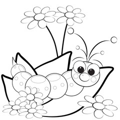 Grub on leaves with flowers - Coloring page