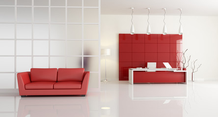 red and white contemporary office -rendering