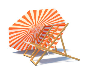 isolated chaise-longues with umbrella
