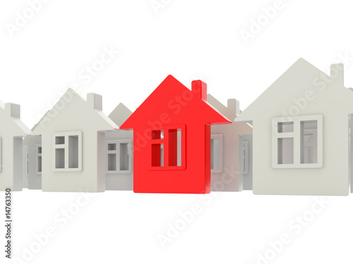 houses rows on white background