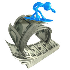 3D Character Surfing On Money Wave