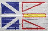 Flag of Newfoundland on brick wall poster