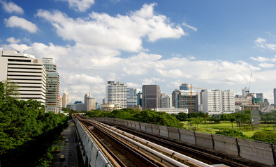 Thailand's sky train near downtown area of bangkok