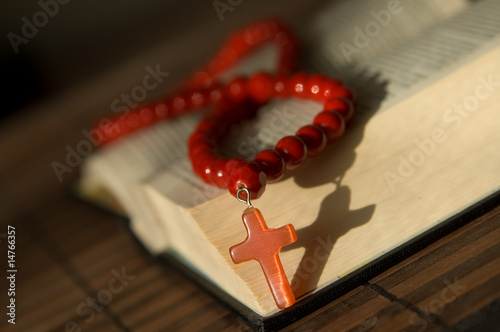 Bible with red  cross