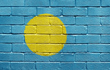 Flag of Palau on brick wall poster