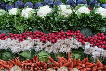 Gemüse auf Wagen