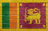 Flag of Sri Lanka on brick wall poster