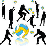volleyball players collection silhouette - vector