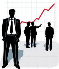Vector illustration of businessman silhouette.