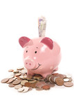 piggy bank moneybox with British currency money poster