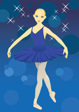 The ballerina with a dark blue dress