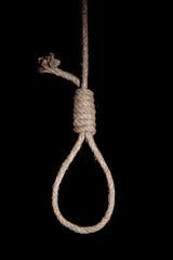 Hangman's noose on dark background