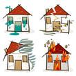 4 croquis de maisons - sinistres