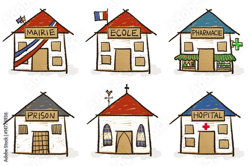 6 croquis de maisons - institutions