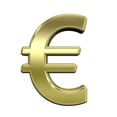 Euro sign from shiny gold alphabet set, isolated on white
