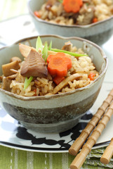 Japanese flavored pilaf with mushroom, bamboo shoot and carrot